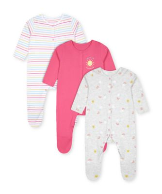 Mothercare Girls Sunshine Multistripe, Grey And Pink Sleepsuits - 3 Pack