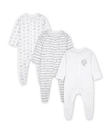 Mothercare Fashion Sleepy Sheepy Sleepsuits - 3 Pack