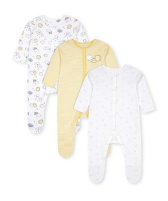 Mothercare Unisex Weather White And Yellow Sleepsuits - 3 Pack