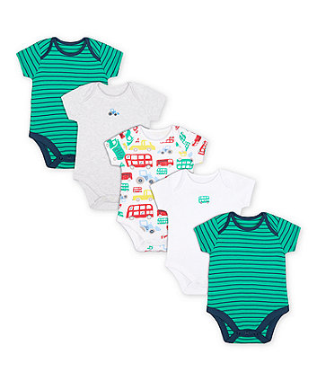Mothercare Let'S Go! Bodysuits - 5 Pack