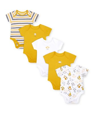 Mothercare Monkey Short Sleeve Bodysuits - 5 Pack