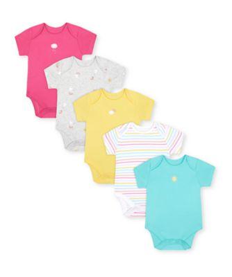 Mothercare Girls Sunshine Multicolor Bodysuits - 5 Pack