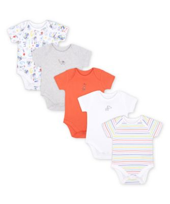 Mothercare Bright Safari Short Sleeve Bodysuits - 5 Pack