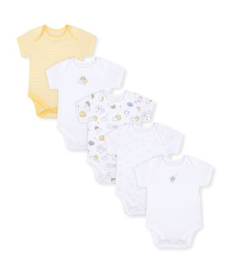 Mothercare Unisex Weather White And Yellow Bodysuits - 5 Pack