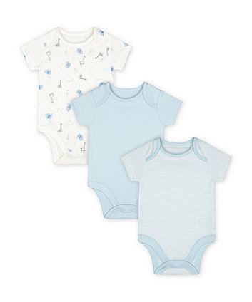 Mothercare My First Blue Bodysuits - 3 Pack