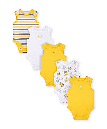 Mothercare Monkey Bodysuits - 5 Pack