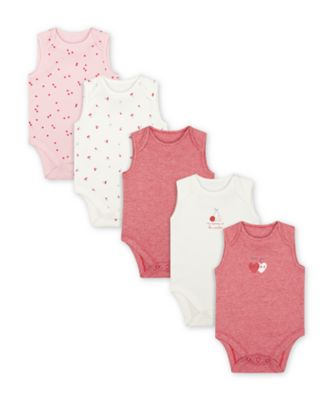 Mothercare Mummy And Daddy Heart Sleeveless Bodysuits - 5 Pack