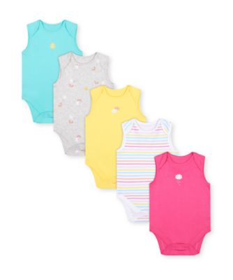 Mothercare Girls Sunshine Multi Color Bodysuits - 5 Pack