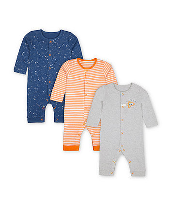 Mothercare Space Sleepsuits - 3 Pack