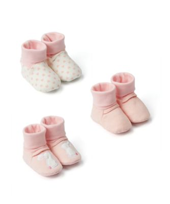 Mothercare My First Pink Bunny Sock Top Baby Booties - 3 Pack