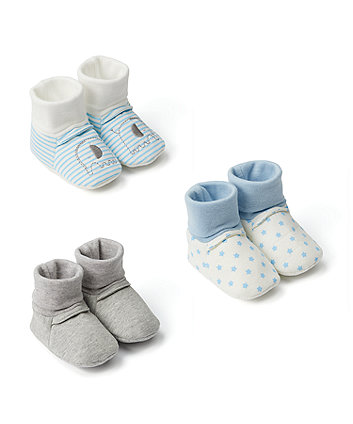 Mothercare My First Blue Socktop Booties - 3 Pack