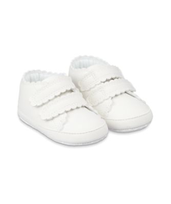 Mothercare White Scallop Canvas Pram Shoes