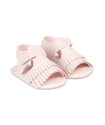Mothercare Pink Fringe Baby Pram Sandals