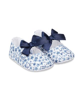 Mothercare Blue Heritage Floral Baby Pram Shoes