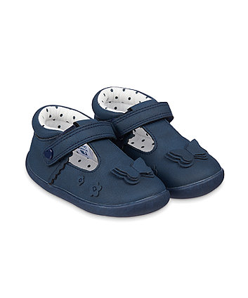 Mothercare Navy Butterfly Crawler Shoes