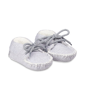 Mothercare Grey Jersey Moccasins