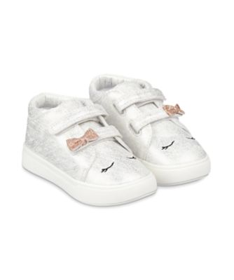 Mothercare First Walker Sparkly Silver Character Hi-Top Trainers