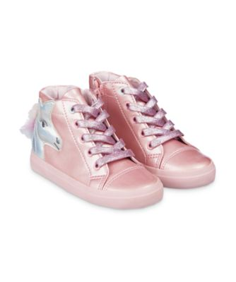 Mothercare Pink Unicorn Hi-Top Trainers