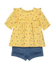 Mothercare Yellow Blouse And Denim Shorts Set