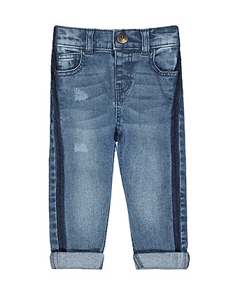 Mothercare Side-Striped Jeans - Light Wash
