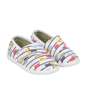 Mothercare Striped Dinosaur Canvas Pumps