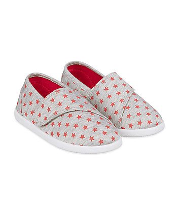 Mothercare Grey Star Canvas Pumps