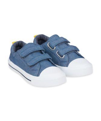 Mothercare Denim Blue Double Velcro Canvas Trainers
