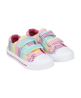 Mothercare Multi Pastel Striped Canvas Trainers