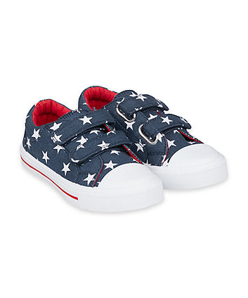 Mothercare Navy Star Canvas Trainers