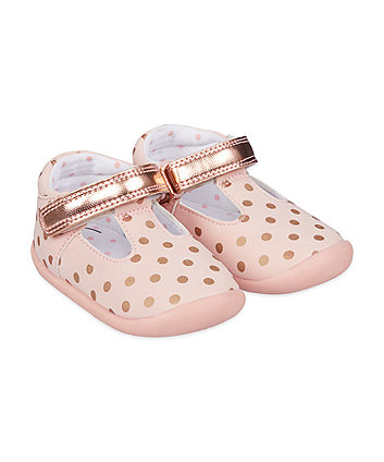Mothercare Pink And Rose-Gold Spot T-Bar Crawler Shoes