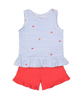 Mothercare Statement Stripe T-Shirt And Red Shorts Set