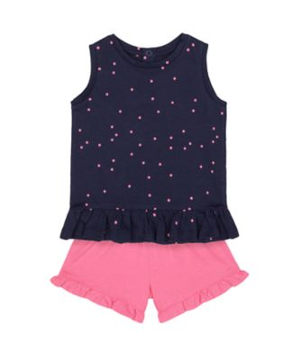 Mothercare Statement Navy T-Shirt And Pink Shorts Set