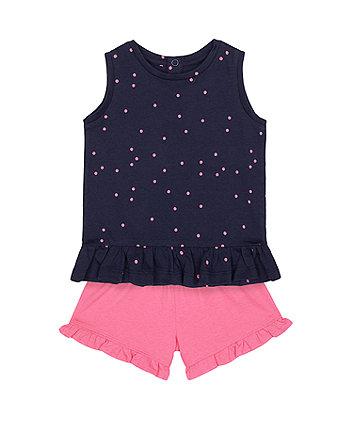 Mothercare Navy T-Shirt And Pink Shorts Set