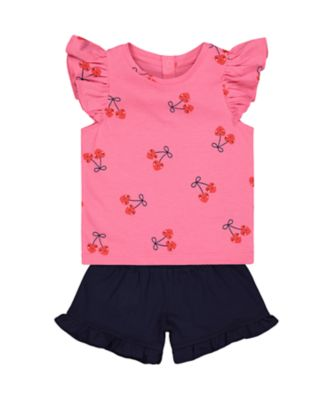 Mothercare Statement Cherry T-Shirt And Navy Shorts Set