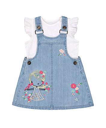 Mothercare Denim Pinny Dress And T-Shirt Set