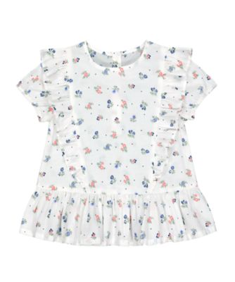 Mothercare Go West Cream Broideried Frill Short Sleeve Blouse