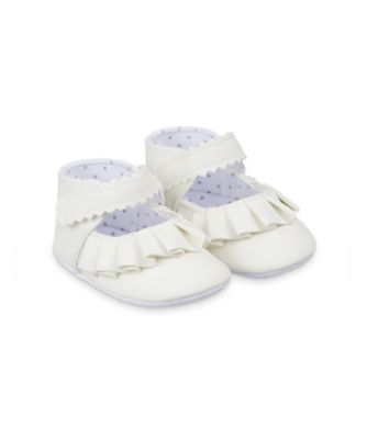 Mothercare White Frill Baby Pram Shoes