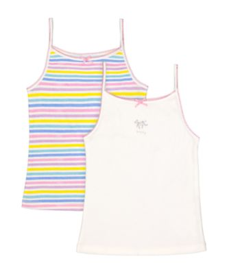 Mothercare Multi Striped Cami Vests - 2 Pack