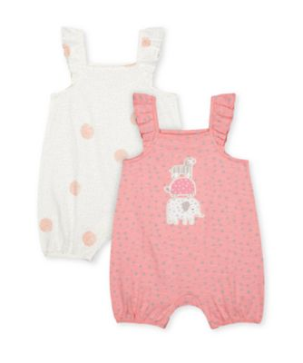 Mothercare Little Jungle Spot And Animal Frilled Rompers - 2 Pack