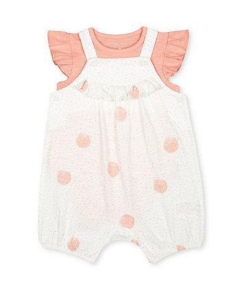 Mothercare Spot Jersey Bibshorts And Bodysuit Set