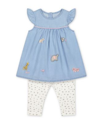 Mothercare Little Jungle Denim Dress And Leggings Set