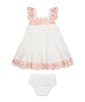 Mothercare Little Jungle White Dobby Dress And Knickers Set