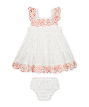 Mothercare White Dobby Dress And Knickers Set