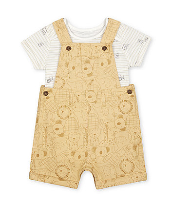 Mothercare Safari Bibshorts And Bodysuit Set