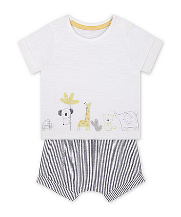 Mothercare T-Shirt And Seersucker Shorts Set