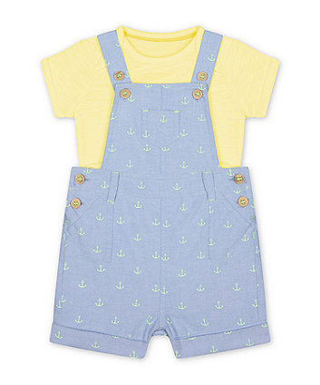 Mothercare Anchor Bibshorts And Bodysuit Set