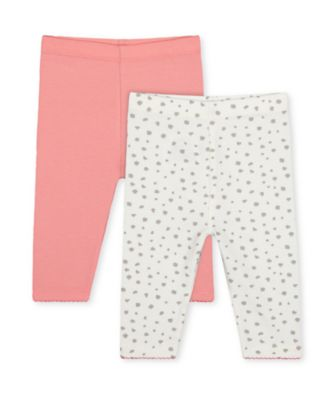 Mothercare Little Jungle Grey Animal Print And Pink Leggings - 2 Pack
