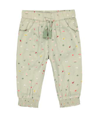 Mothercare Soft Energy Green Spring-Garden Woven Trousers