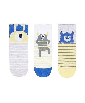 Mothercare Monster Socks - 3 Pack