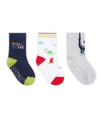 Mothercare Grey Dino Socks With Slip-Resist Soles - 3 Pack
